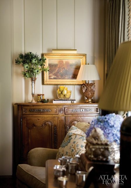 """Atlanta Homes Magazine House Tour:  """"The antique French sideboard nestled in the niche' adds so much charm & character to this lovely room vignette"""" Carolyn Williams, Antiques & Interiors, Atlanta & Roswell, GA"""