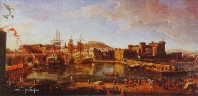 Napoli, Veduta con la darsena, van Wittel, ca. 1710