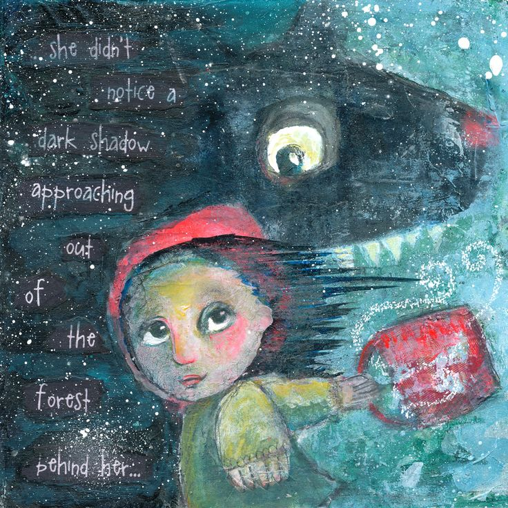 Little Red Riding Hood, Mixed Media painting by Charlotte Engel