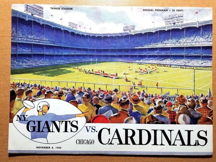 Nov. 8, 1959 NFL Football Program CHICAGO CARDINALS at New