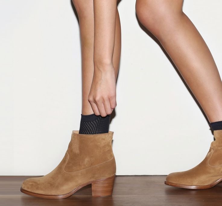 February 2014: A.P.C. See Through Sock in Dark Navy. A.P.C. Suede Ankle Boot in Chestnut.