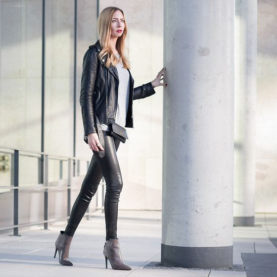 Get this look: http://lb.nu/look/7878812  More looks by Dana: http://lb.nu/howimetmyoutfit  Items in this look:  Einstein & Newton Sweater, Poi Lei Ankle Boots, Any Di Leather Hip Bag, Be Edgy Leather Jacket, True Religion Leather Pants   #casual #edgy #s