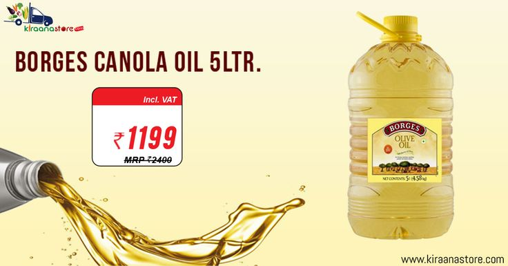 Biggest Offers on Borges Canola Oil 5lt @ Rs. 1199/- for Our #Grocery #Store #Online Noida at Kiraanastore.com. Get Free Shipping, Pay COD with 100% Original Products. Quick & Fast Home Delivery!!