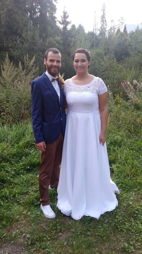 """Ľahké """"boho""""svadobné šaty pre vysoké ženy, 48"""