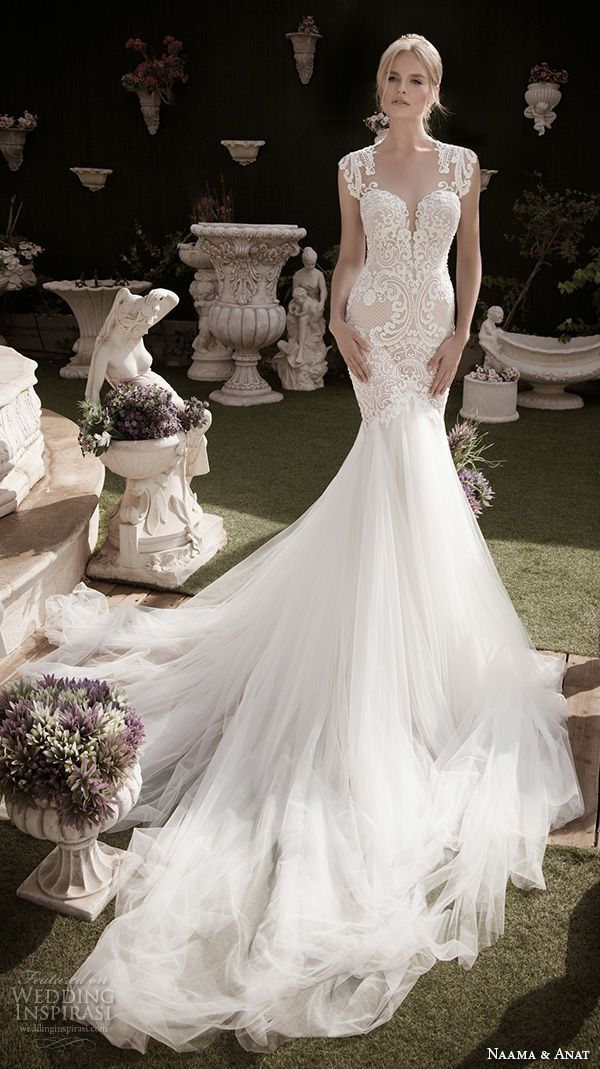 naama anat fall 2016 bridal dresses beautiful mermaid wedding dress fit flare trumpet lace strap sweetheart neckline tulle skirt style devine