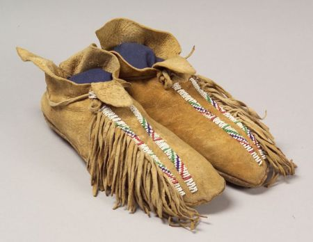Southern Plains Beaded Hide Man's Moccasins