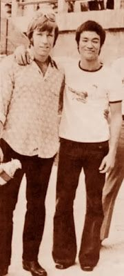 Chuck Norris and Bruce Lee, on the set of 'Way of the Dragon' from 1972. I need to get chuck to follow my google + account and get him to help me staighten them out along with Facebook. Wish Bruce were alive we could all have coffee and talk about how to destroy the NWO