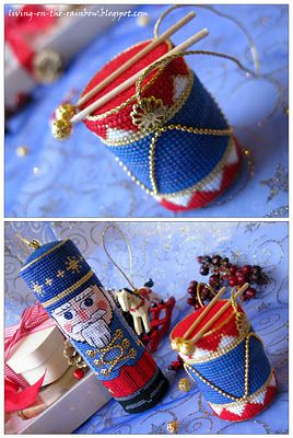 Christmas ornaments - handmade, needlepoint nutcracker and drum- I have this pattern with 2 or 3 variations. On my list to do-P