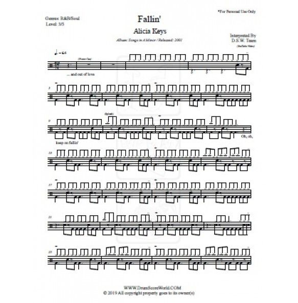 Drum Score Alicia Keys Fallin With Images Alicia Keys