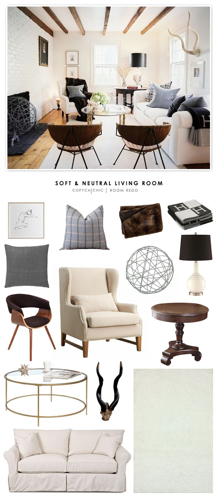 Copy Cat Chic Room Redo | Soft & Neutral Living Room