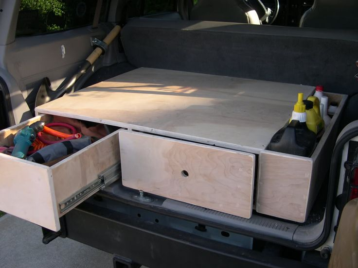 Could do a built-in inverter in this, too, with all the electrics behind the drawers with a separate hatch.