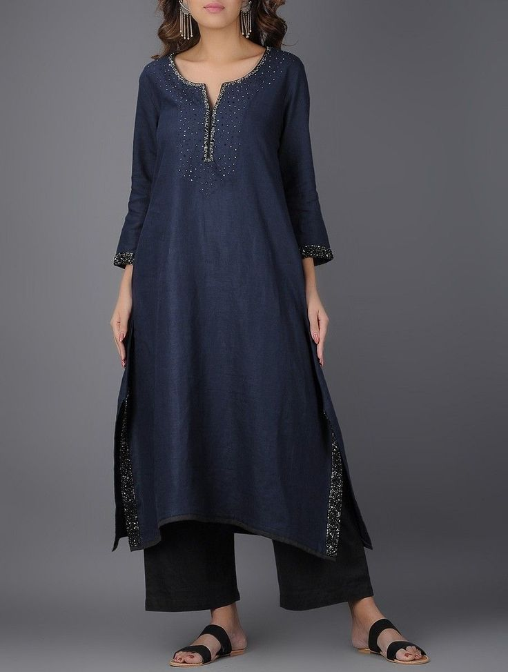 Buy vy Blue Navy Asymmetrical Linen Kurta with Beads and Sequins Women Kurtas Online at Jaypore.com