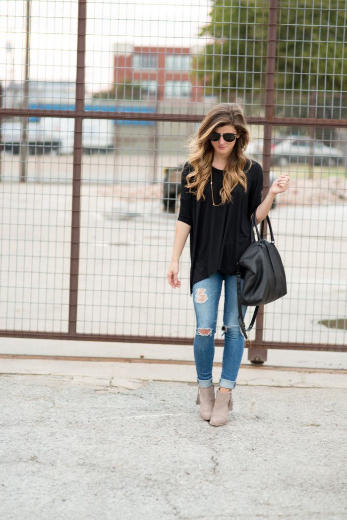 Easy, Simple Black Tee and distressed denim outfit