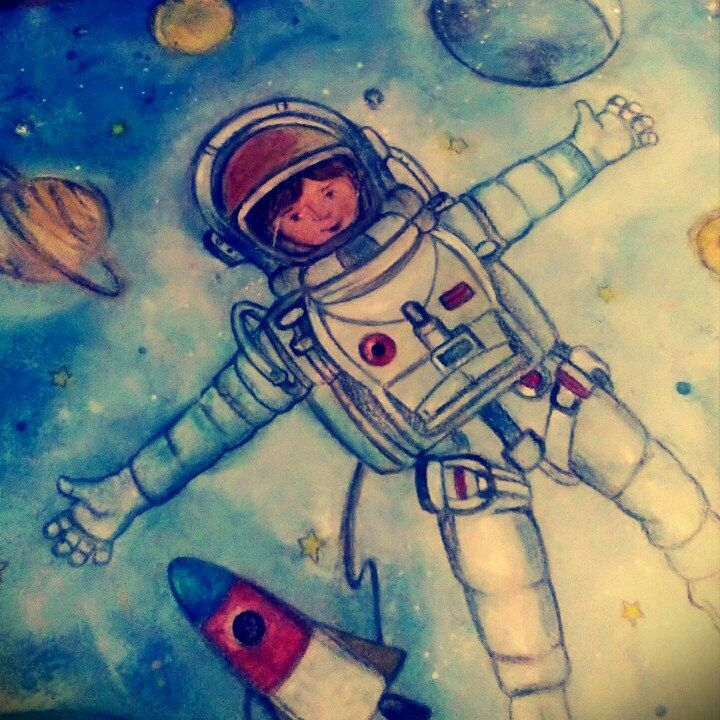 Custom book bound album, totally designed and painted by me... Fly, fly my little astronaut...
