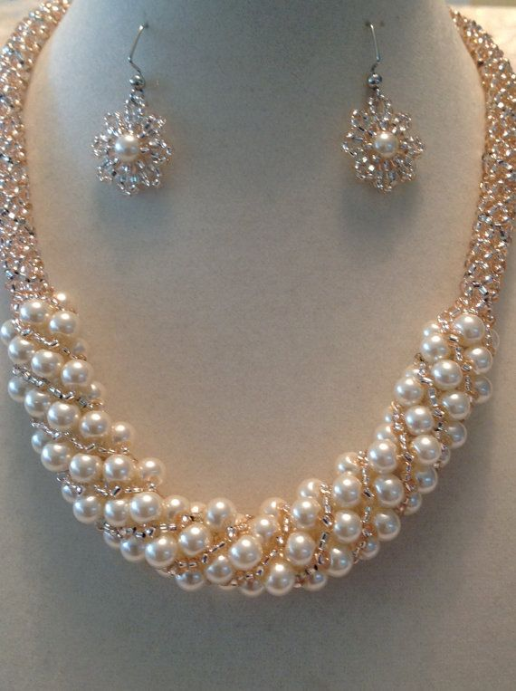Russian Spiral Champagne Pearls and Silver by beadandweave on Etsy
