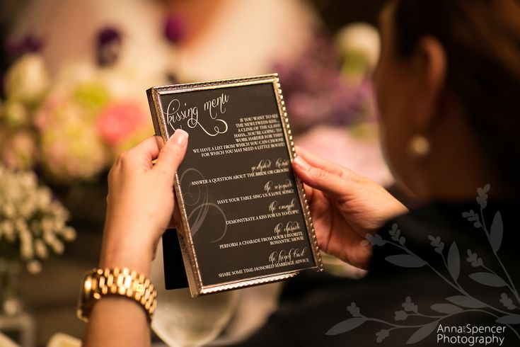 "Anna and Spencer Photography, Wedding ""kissing game"" menu."