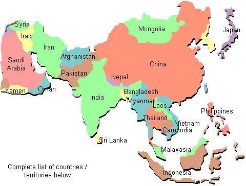 Countries in asian continent