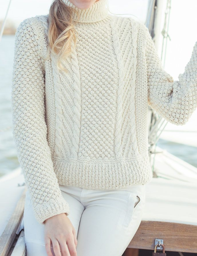 Knitting Pattern for Narragansett Gansey - Long-sleeved pullover ...