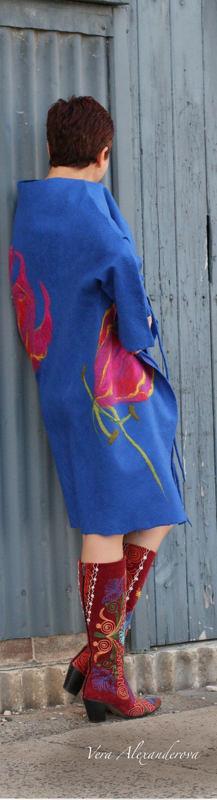 Buy women's fashion style wool summer coat by Vera Alexanderova. #womensfashion #women #fashion #style #boho #bohochic #bohostyle #wearables #unique #ecofashion