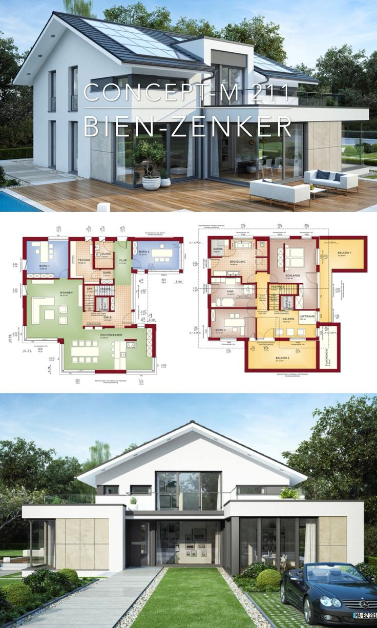 Modern Contemporary European Architecture Design House Plan Drawing Concept M 211 – Dream Home Ideas Layout Inspiration Photography with House Plans Blueprint – Interior Styles with Kitchen and Living Room Bathroom Bedroom Entrance Hall Garage and Garden Exterior – Arquitectura moderna casas planos – HausbauDirekt.de