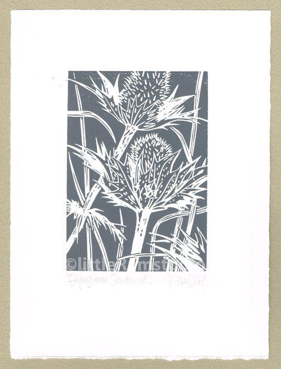 Eryngium Grey Seed Head original linocut print