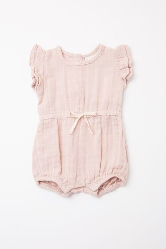 3e32409f356 Light Pink Butterfly Sleeve Baby Romper
