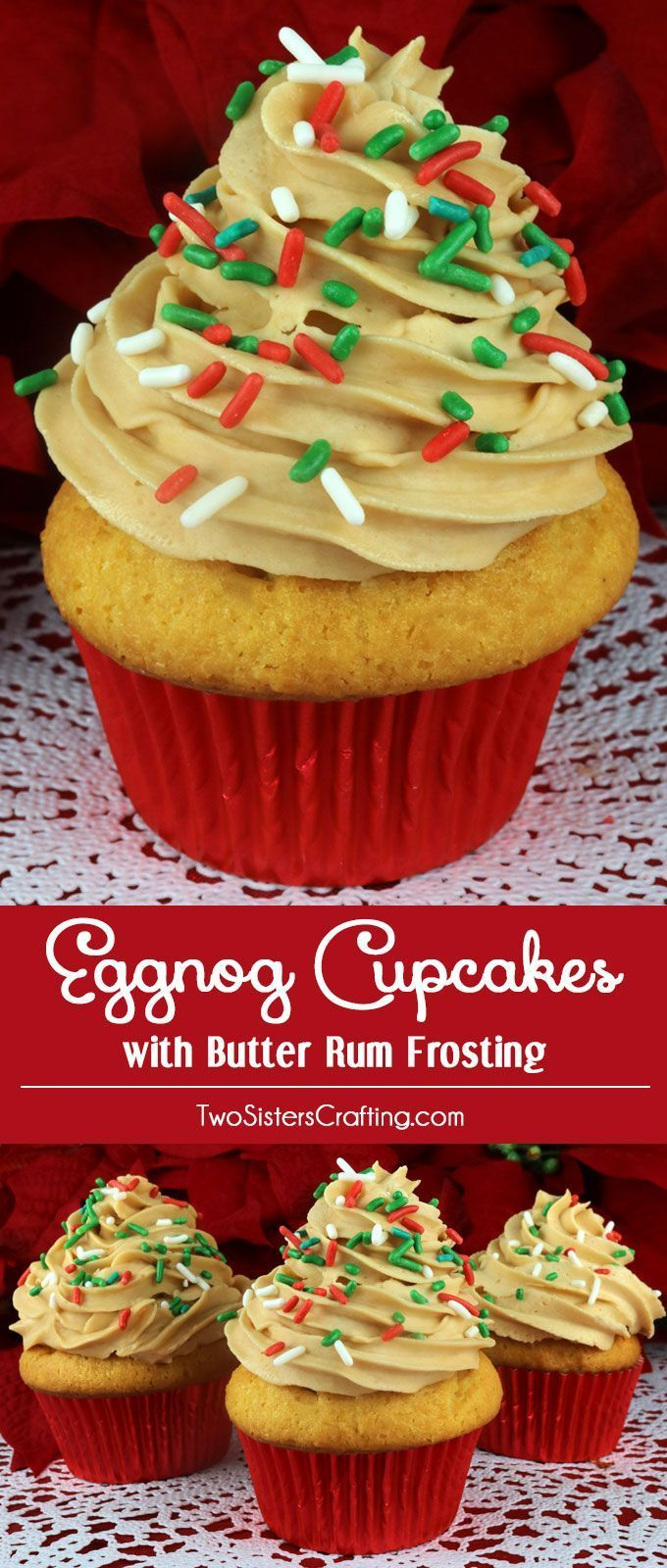 Eggnog Cupcakes with Butter Rum Frosting - a beautiful Christmas Cupcake for your holiday parties. Each bite is like a sip of spiked Eggnog. Christmas desserts never looked so good. Pin these delicious Christmas Treats for later and follow us for more great Christmas Food ideas.