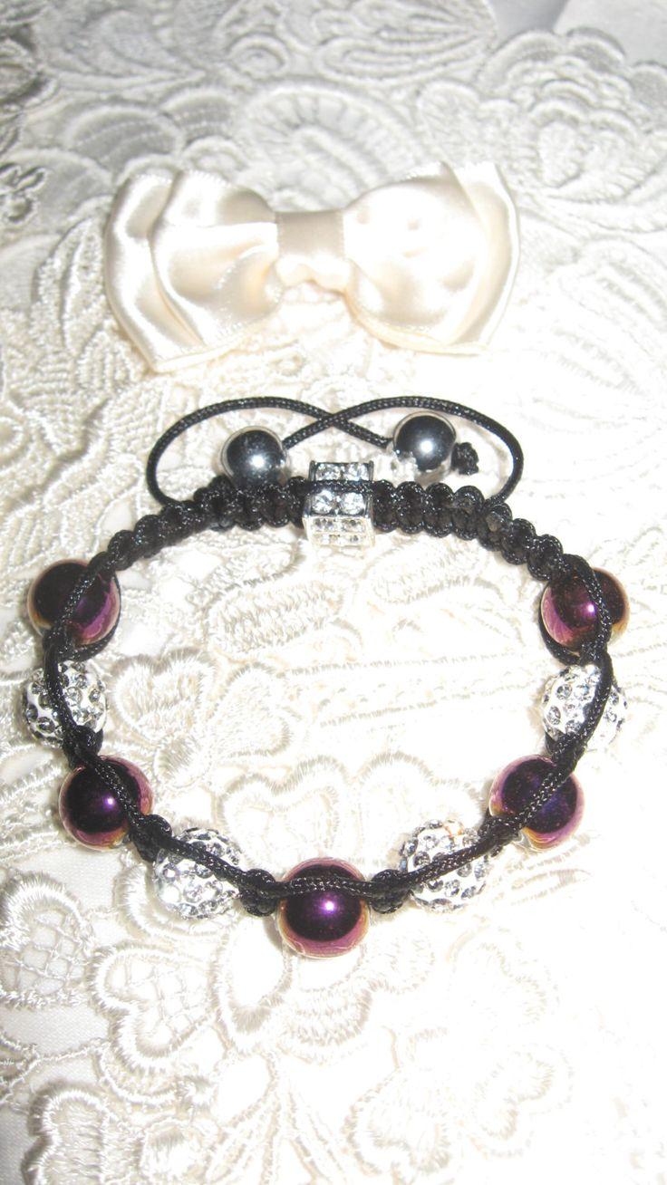 Purple hematite and diamante bracelet, jewellery,Christmas present,bridesmaid gift,thankyou,steampunk,bridal,bride,evening wear,jewellery by LovenLightFabrics on Etsy
