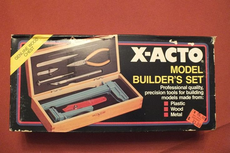 X-acto Tools Model Builders Set Precision Tools in Wood Chest New Old Stock