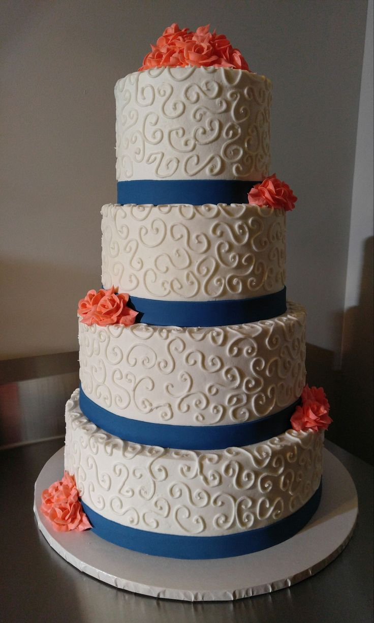 Navy Blue And Coral Wedding Cake, VintageBakery.com (803) 386 8806