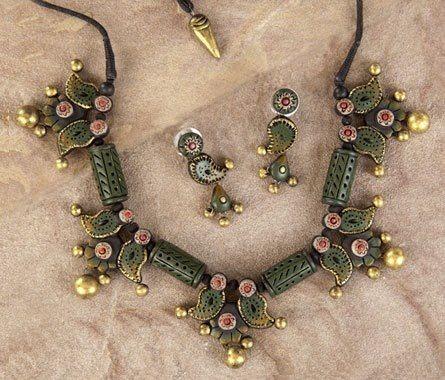 Handmade terracotta jewelry painted in olive green https://www.facebook.com/KavisTerracottajewellery