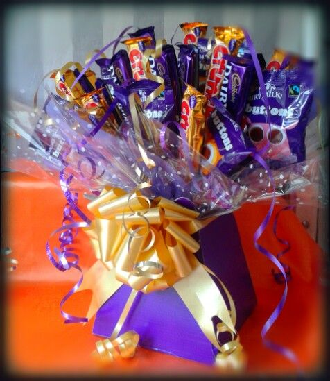 #chocolate #bouquet #special #gift #purple #gold #dairymilk #crunchie #cadburys #sweet #love #thankyou #birthday #treat #sweetngroovystuff #buttons #yummy www.facebook.com/sweetngroovystuff for more gifts and order