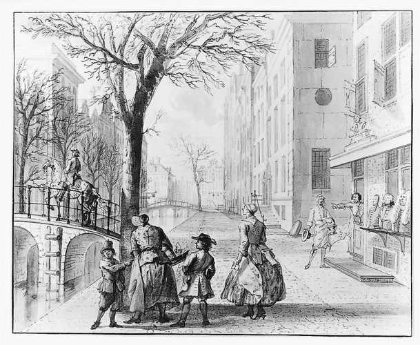 April - Straattafereel met aprilgrappen , 1742 Cornelis Troost (1696-10-08 - 1750-03-07)