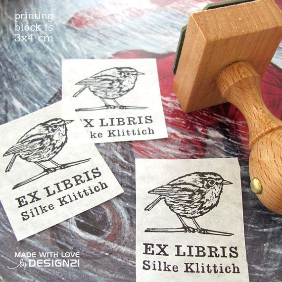 Birdie: personalised stamp 3x4 cm by lida21 on Etsy