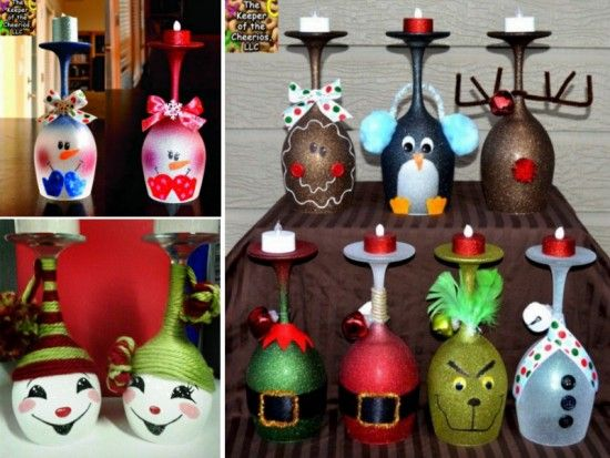 Christmas Candle Centrepieces DIY wine glass candle holders.