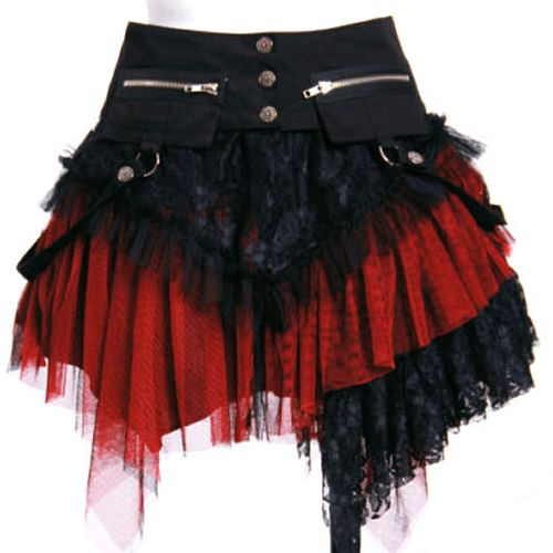 Black and Red Lace Asymmetrical Knee Length Gothic Corset Tutu Skirt