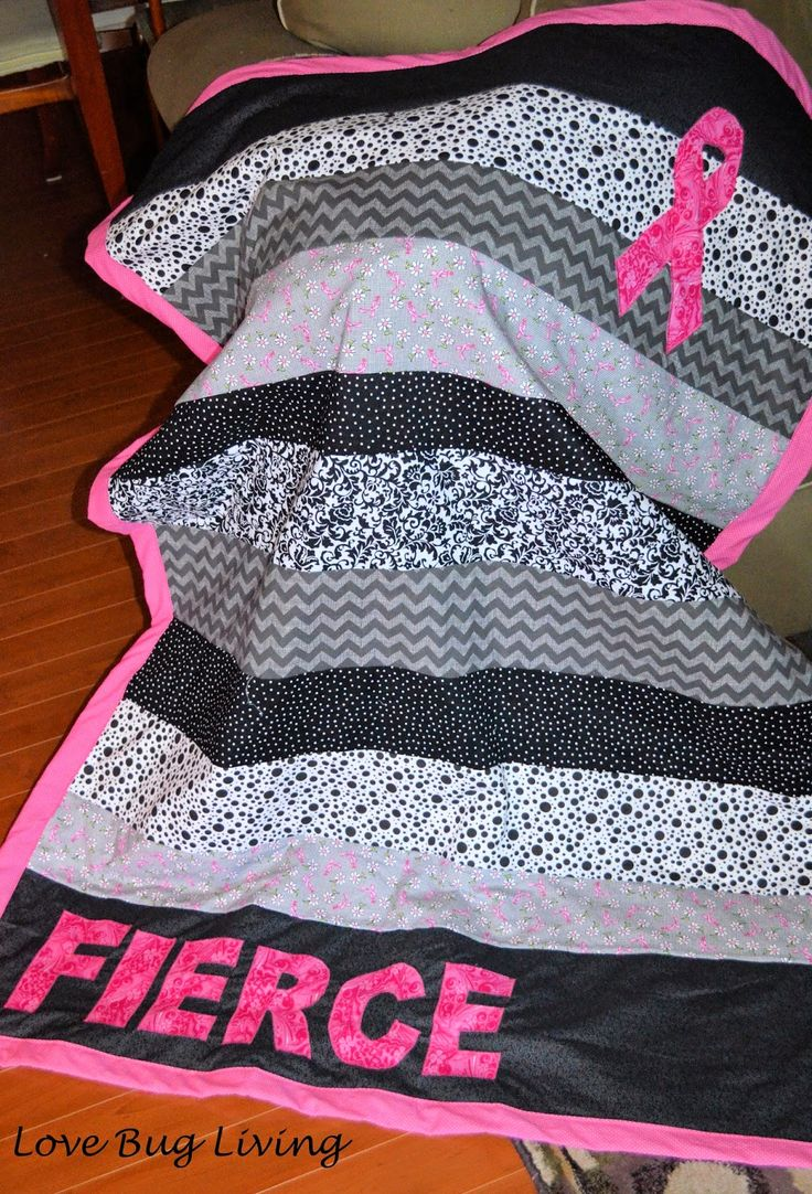 Love Bug Living: Fierce Pink Ribbon Quilt for Breast Cancer Awareness