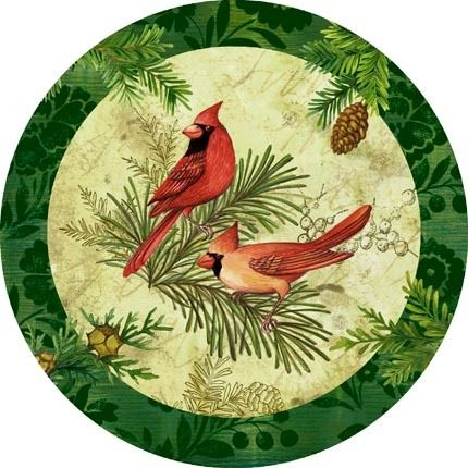 Cardinals on Round with Green Border -- by Elena Vladykina