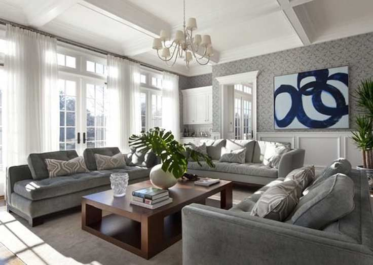 Grey Living Room For Modern Home Design Interior With Grey Wallpaper Designs,  Grey Sectional Sofa