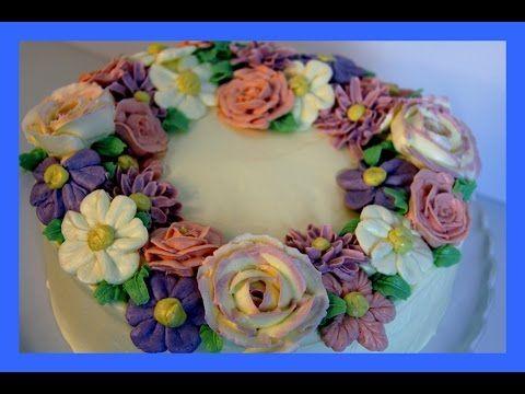 Buttercreme Blumenkranz Torte - Blüten aus Buttercreme - Buttercream Fowers - von Kuchenfee - YouTube