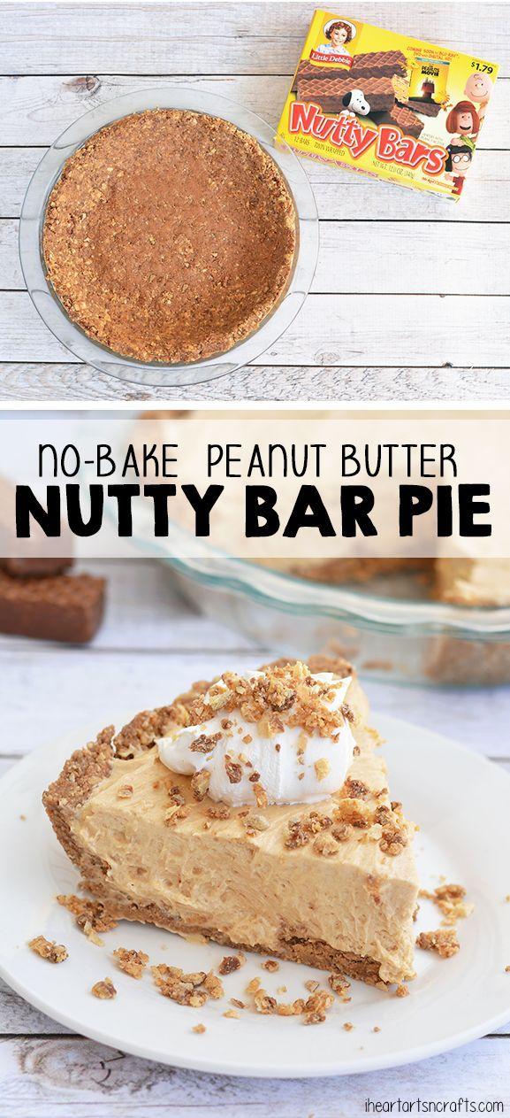 No Bake Peanut Butter Nutty Bar Pie