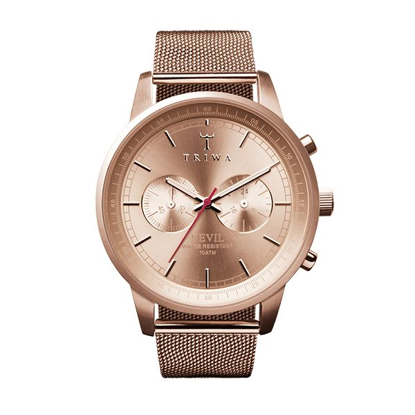 ROSE NEVIL Case: Brushed rose gold stainless steel  Strap: Rose gold stainless steel mesh strap  Bezel colour: Polished rose gold stainless steel Dial colour: Rose gold sunray Movement: Miyota OS-21 Size: 40 mm
