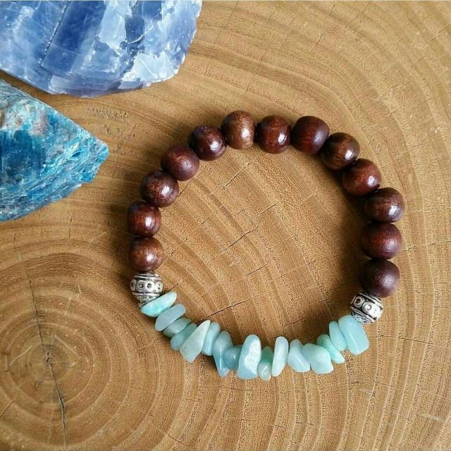 Wooden beads and gemstone stretch bracelet simple elastic bracelet diy jewelry
