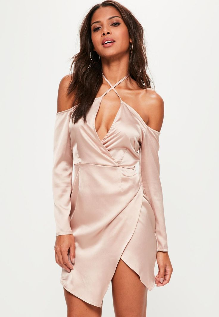 Missguided - Nude Silky Bardot Shift Dress