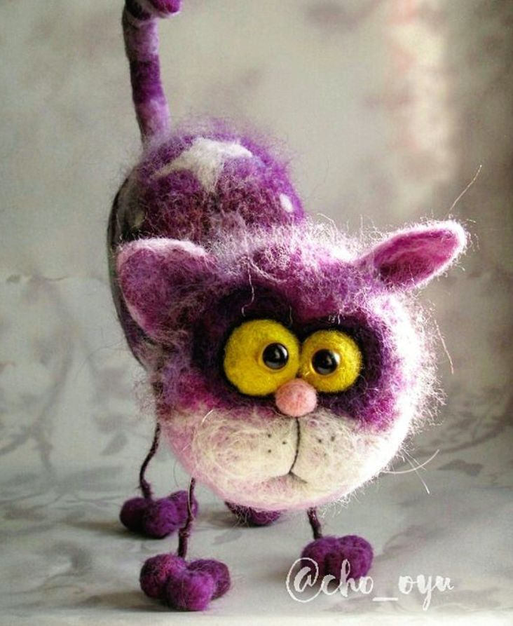 Cute Needle felting wool animal cat pet(Via @cho_oyu)
