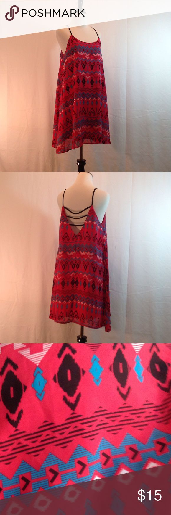 """⭐️Pink Aztec print dress⭐️ Adorable hot pink Aztec dress. 34"""" long not counting straps. Arm pit to arm pit around is 38""""-40"""". A-line style. Nicely lined. Charlotte Russe Dresses Midi"""