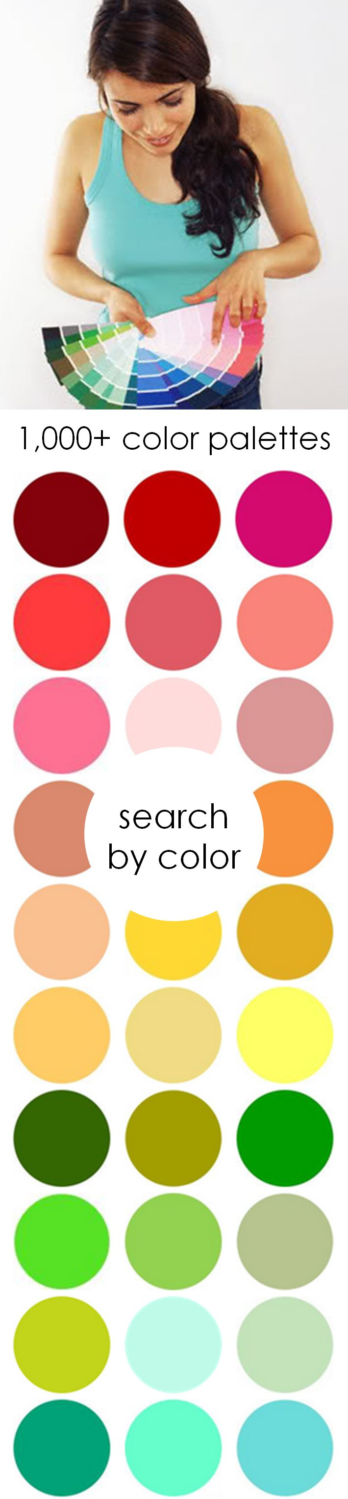 1,000+ color palettes. Color ideas for weddings, parties & life! Search by color! http://www.theperfectpalette.com/p/colors.html