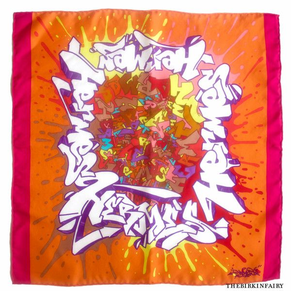 """This fun and colorful #Graff pochette scarf was designed by famous french #graffiti artist Cyril Phan aka """"Kongo"""". Graff is one of the most unexpected designs to come out of the Maison de #Hermes. Can be worn on the neck, the wrist, on a purse, or as a pocket square for men. #TheBirkinFairy"""
