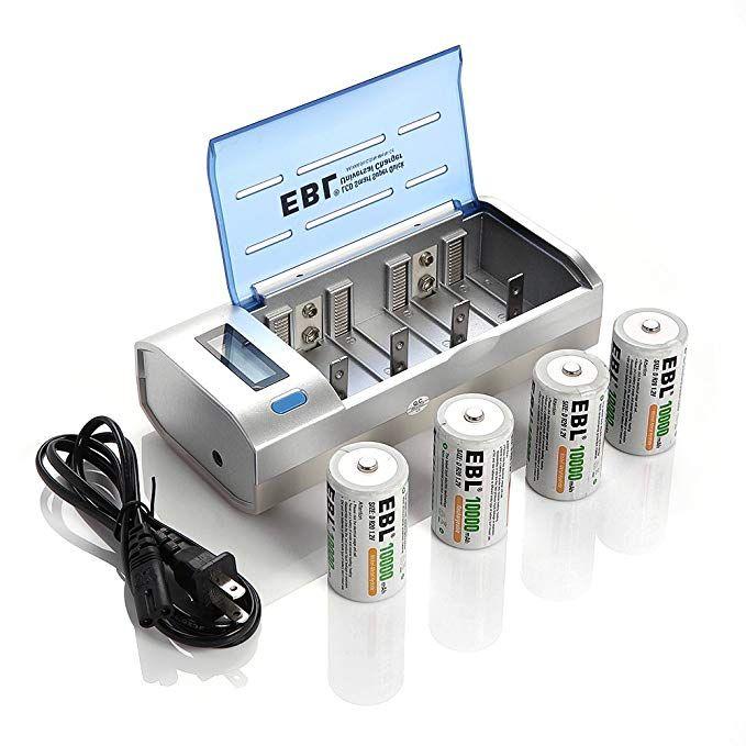 39 99 Ebl D Cells 10000mah Rechargeable Batteries 4 Counts With C D 9v Aa Aaa Battery Charger Aaa Battery Charger Battery Charger Rechargeable Batteries