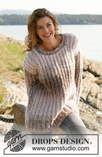 """Lazy Sunday - Knitted DROPS jumper in 3 strands """"Verdi"""". - Free pattern by DROPS Design"""